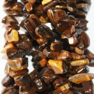 Shop Tiger Eye Chip & Nugget Beads! Genuine Tiger eye – medium size Freeform Chips – long Strand 36"