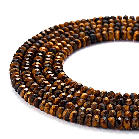 """Natural Yellow Tiger Eye Faceted Rondelle Beads 4x6mm 5x8mm 15.5"""" Strand"""