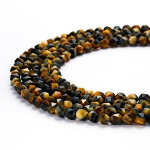Shop Tiger Eye Faceted Beads! Nice Star Cut Faceted Blue Golden Tiger Eye Gemstone Round Loose Beads Size 8mm 15.5 Inches per Strand.GEM-073004-18 | Natural genuine faceted Tiger Eye beads for beading and jewelry making.  #jewelry #beads #beadedjewelry #diyjewelry #jewelrymaking #beadstore #beading #affiliate #ad