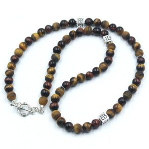 Shop Tiger Eye Necklaces! Men's Necklace, Mixed Tiger's Eye And Sterling Silver Necklace, Bead Necklace Men, Necklaces For Men, Beaded Necklace Men, Necklace Men | Natural genuine Tiger Eye necklaces. Buy handcrafted artisan men's jewelry, gifts for men.  Unique handmade mens fashion accessories. #jewelry #beadednecklaces #beadedjewelry #shopping #gift #handmadejewelry #necklaces #affiliate #ad