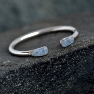 Shop Kyanite Rings! Tiny Minimalist Everyday Open Silver Blue Kyanite Ring. Hammered Kyanite Ring. Tiny Ring. Minimalist Ring. Kyanite Ring. | Natural genuine Kyanite rings, simple unique handcrafted gemstone rings. #rings #jewelry #shopping #gift #handmade #fashion #style #affiliate #ad