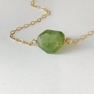 Shop Peridot Jewelry! Tiny Peridot Necklace Raw Peridot Necklace Natural Peridot Necklace Layering Necklace August Birthstone August Birthday Minimalist Necklace | Natural genuine Peridot jewelry. Buy crystal jewelry, handmade handcrafted artisan jewelry for women.  Unique handmade gift ideas. #jewelry #beadedjewelry #beadedjewelry #gift #shopping #handmadejewelry #fashion #style #product #jewelry #affiliate #ad