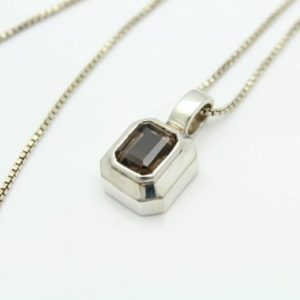 "Shop Topaz Pendants! Chunky BOMA Pendant with Rectangular Smoky Topaz in Sterling Silver on 17"" Chain. [11626] 