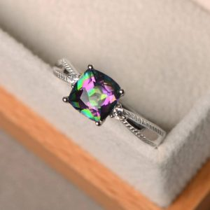Mystic topaz rings, cushion cut wedding ring, rainbow topaz, sterling silver, engagement ring for women | Natural genuine Gemstone rings, simple unique alternative gemstone engagement rings. #rings #jewelry #bridal #wedding #jewelryaccessories #engagementrings #weddingideas #affiliate #ad