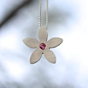 Modern Pink Tourmaline Silver Necklace Minimalistic Flower 5 Petal Spring Boho Valentines Day Gift For Her Teenager Girlfriend Wife – Blume | Natural genuine Tourmaline necklaces. Buy crystal jewelry, handmade handcrafted artisan jewelry for women.  Unique handmade gift ideas. #jewelry #beadednecklaces #beadedjewelry #gift #shopping #handmadejewelry #fashion #style #product #necklaces #affiliate #ad