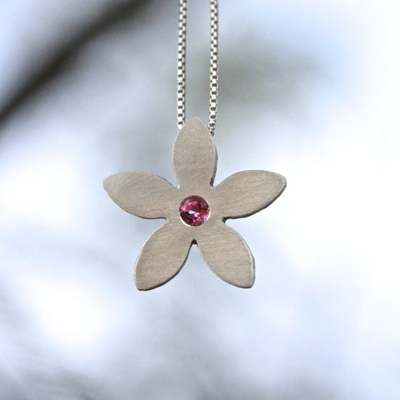 Modern Pink Tourmaline Silver Necklace Minimalistic Flower 5 Petal Spring Boho Valentines Day Gift For Her Teenager Girlfriend Wife - Blume