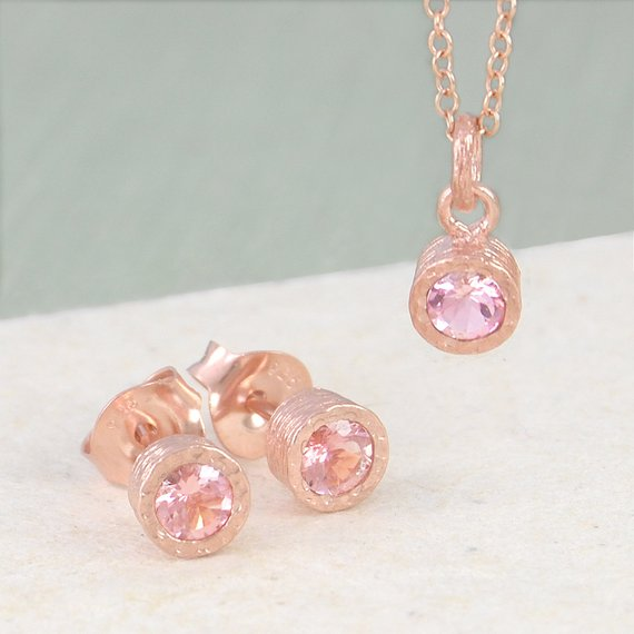 Pink Tourmaline Jewelry Set, October Birthstone, Tourmaline Necklace, Rose Gold Stud Earrings, Bridal Jewelry Set For Bride