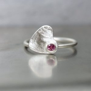 Cute Spinning Heart Ring Pink Tourmaline Silver Valentine's Day Gift for Her Romantic Love Modern Design Sweet Statement – Schwindelgefühl | Natural genuine Pink Tourmaline jewelry. Buy crystal jewelry, handmade handcrafted artisan jewelry for women.  Unique handmade gift ideas. #jewelry #beadedjewelry #beadedjewelry #gift #shopping #handmadejewelry #fashion #style #product #jewelry #affiliate #ad