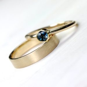 Shop Tourmaline Rings! Indicolite Tourmaline 14K 18K Yellow Gold Engagement Ring or Wedding Set Modern Blue Yellow Elegant Simple Minimalistic Bridal – Adelblau | Natural genuine Tourmaline rings, simple unique alternative gemstone engagement rings. #rings #jewelry #bridal #wedding #jewelryaccessories #engagementrings #weddingideas #affiliate #ad