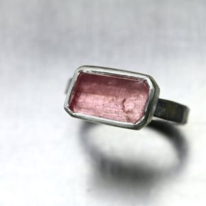 Rustic Freeform Faceted Rough Pale Pink Tourmaline Ring Forged Silver Rectangular Primitive Geometric Asymmetrical Raw Gemstone – Blush Geo | Natural genuine Tourmaline rings, simple unique handcrafted gemstone rings. #rings #jewelry #shopping #gift #handmade #fashion #style #affiliate #ad