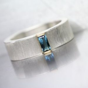 Shop Tourmaline Rings! Small Blue Tourmaline Wedding Band Baguette Cut Gemstone Wide Silver 14K Yellow Gold Ring Solid Minimalistic Subtle Design – Indicolite Bar | Natural genuine Tourmaline rings, simple unique alternative gemstone engagement rings. #rings #jewelry #bridal #wedding #jewelryaccessories #engagementrings #weddingideas #affiliate #ad
