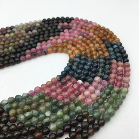"Watermelon Tourmaline Smooth Round Beads 4mm 5mm 6mm 7mm 15.5"" Strand"