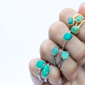 Tumbled chrysoprase ring | Chrysoprase crystal ring | Green chrysoprase ring | Raw crystal jewelry | Raw crystal statement ring | Natural genuine Chrysoprase rings, simple unique handcrafted gemstone rings. #rings #jewelry #shopping #gift #handmade #fashion #style #affiliate #ad