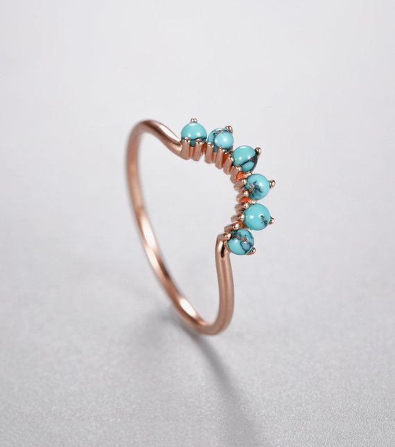 Curved Wedding Band Rose Gold Women With Turquoise Unique Stacking Matching Jewelry Promise Birthstone Anniversary Christmas Gift For Her