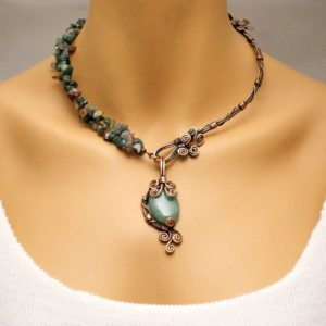 Shop Aventurine Necklaces! Aventurine Necklace, Copper Necklace, Green Aventurine Gemstone Necklace, Copper Jewelry, Wire Wrapped Jewelry, Unique Necklace For Women, | Natural genuine Aventurine necklaces. Buy crystal jewelry, handmade handcrafted artisan jewelry for women.  Unique handmade gift ideas. #jewelry #beadednecklaces #beadedjewelry #gift #shopping #handmadejewelry #fashion #style #product #necklaces #affiliate #ad