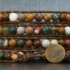 western jewelry – bohemian jewelry – jasper wrap bracelet- ocean jasper on chocolate brown leather – earthtones | Natural genuine Gemstone bracelets. Buy crystal jewelry, handmade handcrafted artisan jewelry for women.  Unique handmade gift ideas. #jewelry #beadedbracelets #beadedjewelry #gift #shopping #handmadejewelry #fashion #style #product #bracelets #affiliate #ad