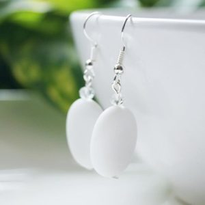 Shop Calcite Earrings! White Calcite & Clear Glass Earrings | Natural genuine gemstone jewelry in modern, chic, boho, elegant styles. Buy crystal handmade handcrafted artisan art jewelry & accessories. #jewelry #beaded #beadedjewelry #product #gifts #shopping #style #fashion #product