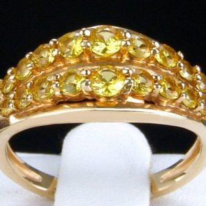 Shop Yellow Sapphire Rings! Yellow Sapphire Double Row Half Eternity 14k Solid Yellow Gold Unisex Ring – Completely Natural Gemstones | Natural genuine Yellow Sapphire rings, simple unique handcrafted gemstone rings. #rings #jewelry #shopping #gift #handmade #fashion #style #affiliate #ad