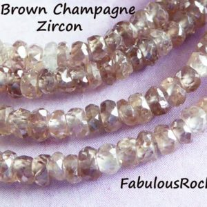 Shop Zircon Beads! 10-50 pc / ZIRCON Rondelles Gemstone Gem Beads, Brown Champagne, AAA, 3-3.5 mm, Faceted, December birthstone, like Champagne Diamonds 35 brr | Natural genuine faceted Zircon beads for beading and jewelry making.  #jewelry #beads #beadedjewelry #diyjewelry #jewelrymaking #beadstore #beading #affiliate #ad