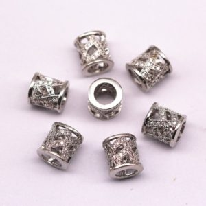 Shop Zircon Beads! Silver Plated Mirco Pave Clear Zircon Large Hole Cylinder Shape Charm Beads Size 9*10mm. Sale By Piece | Natural genuine other-shape Zircon beads for beading and jewelry making.  #jewelry #beads #beadedjewelry #diyjewelry #jewelrymaking #beadstore #beading #affiliate #ad