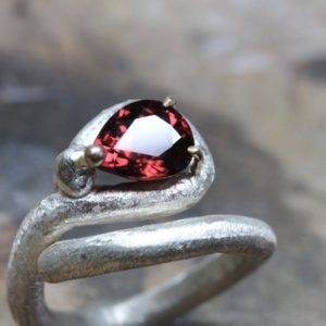 Shop Zircon Jewelry! Dark Red Zircon Abstract Om Symbol Silver Ring 10k Yellow Gold Prongs Rustic Texture Unique Crimson Pear Drop Gemstone Design – Tamil Om | Natural genuine Zircon jewelry. Buy crystal jewelry, handmade handcrafted artisan jewelry for women.  Unique handmade gift ideas. #jewelry #beadedjewelry #beadedjewelry #gift #shopping #handmadejewelry #fashion #style #product #jewelry #affiliate #ad