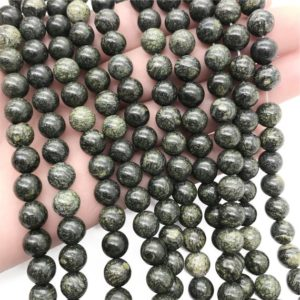 Shop Serpentine Round Beads! 10mm Russian Serpentine Beads, Round Gemstone Beads, Wholesale Beads | Natural genuine round Serpentine beads for beading and jewelry making.  #jewelry #beads #beadedjewelry #diyjewelry #jewelrymaking #beadstore #beading #affiliate #ad