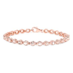 Shop Morganite Bracelets! 14K Rose Gold Plated 3.51 Carat Genuine Morganite Solid .925 Sterling Silver Bracelet | Natural genuine Morganite bracelets. Buy crystal jewelry, handmade handcrafted artisan jewelry for women.  Unique handmade gift ideas. #jewelry #beadedbracelets #beadedjewelry #gift #shopping #handmadejewelry #fashion #style #product #bracelets #affiliate #ad