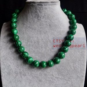 Shop Malachite Necklaces! 14mm malachite necklace,single strand green bead necklace,mother gift,man-made malachite necklace, women necklace,bead chocker necklace | Natural genuine Malachite necklaces. Buy crystal jewelry, handmade handcrafted artisan jewelry for women.  Unique handmade gift ideas. #jewelry #beadednecklaces #beadedjewelry #gift #shopping #handmadejewelry #fashion #style #product #necklaces #affiliate #ad