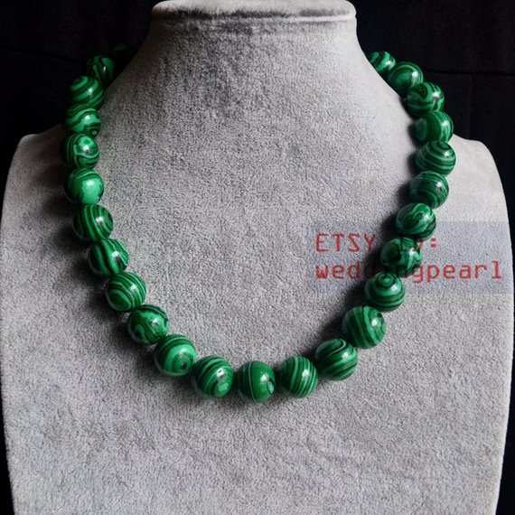 14mm Malachite Necklace,single Strand Green Bead Necklace,mother Gift,man-made Malachite Necklace, Women Necklace,bead Chocker Necklace