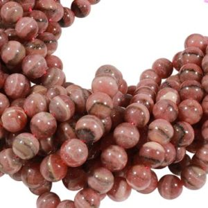 Shop Rhodochrosite Beads! 15 1/2 IN Strand 10 mm Rhodochrosite Natural Round Smooth Gemstone Beads (RC100106) | Natural genuine beads Rhodochrosite beads for beading and jewelry making.  #jewelry #beads #beadedjewelry #diyjewelry #jewelrymaking #beadstore #beading #affiliate #ad
