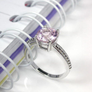 Shop Kunzite Rings! 2.25 pink natural kunzite ring sterling silver wedding ring. | Natural genuine Kunzite rings, simple unique alternative gemstone engagement rings. #rings #jewelry #bridal #wedding #jewelryaccessories #engagementrings #weddingideas #affiliate #ad