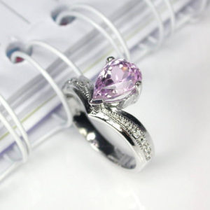 Shop Kunzite Rings! 3.25 pink natural kunzite ring sterling silver wedding ring. | Natural genuine Kunzite rings, simple unique alternative gemstone engagement rings. #rings #jewelry #bridal #wedding #jewelryaccessories #engagementrings #weddingideas #affiliate #ad