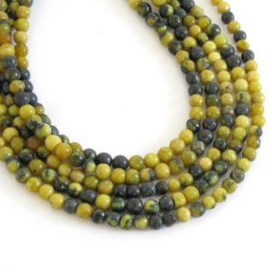 Shop Serpentine Beads! 4mm Round Serpentine Beads, Round Gemstone Beads, Full Strand Serpentine, Ser205 | Natural genuine beads Serpentine beads for beading and jewelry making.  #jewelry #beads #beadedjewelry #diyjewelry #jewelrymaking #beadstore #beading #affiliate #ad