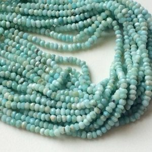 Shop Larimar Rondelle Beads! 6 Inch Larimar Faceted Rondelle Beads, 3.5-4mm Natural Larimar Beads, Original Larimar, Larimar Necklace – APA36 | Natural genuine rondelle Larimar beads for beading and jewelry making.  #jewelry #beads #beadedjewelry #diyjewelry #jewelrymaking #beadstore #beading #affiliate #ad