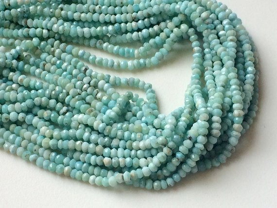 3.5-4mm Larimar Faceted Rondelle Beads, Natural Larimar Beads, Original Larimar, Larimar Faceted Beads For Jewelry (6.5in To 13in Option)