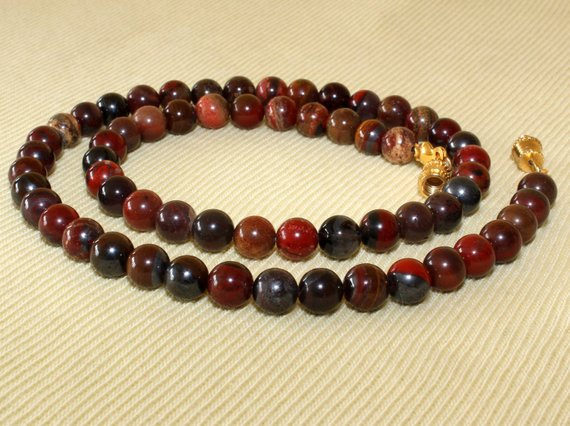 """6mm Iron Blood Stone Necklace. 16"""". Grade 'a' Bloodstone Beads. Healing Necklace. Red Beads. Mapenzigems"""