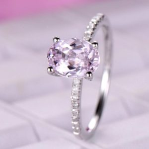 Shop Kunzite Jewelry! 6x8mm Kunzite Engagement ring/14k White gold diamond band/Bridal Stacking ring/Half eternity ring/Oval cut promise wedding ring/Prong set | Natural genuine Kunzite jewelry. Buy handcrafted artisan wedding jewelry.  Unique handmade bridal jewelry gift ideas. #jewelry #beadedjewelry #gift #crystaljewelry #shopping #handmadejewelry #wedding #bridal #jewelry #affiliate #ad