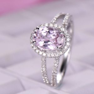 Shop Kunzite Jewelry! 6x8mm Kunzite Engagement ring/14k White gold diamond band/Split shank ring/Half eternity ring/Oval cut/Art Deco Halo ring/Petite Pave | Natural genuine Kunzite jewelry. Buy handcrafted artisan wedding jewelry.  Unique handmade bridal jewelry gift ideas. #jewelry #beadedjewelry #gift #crystaljewelry #shopping #handmadejewelry #wedding #bridal #jewelry #affiliate #ad
