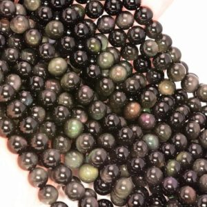 Rainbow Obsidian Gemstone Grade AAA 6mm 8mm Round Loose Beads 15 inch Full Strand LOT 1,2,6,12 and 50 | Natural genuine round Rainbow Obsidian beads for beading and jewelry making.  #jewelry #beads #beadedjewelry #diyjewelry #jewelrymaking #beadstore #beading #affiliate #ad