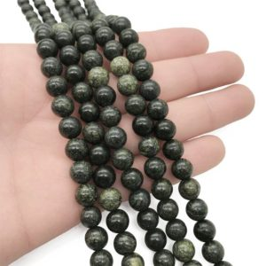 Shop Serpentine Round Beads! 8mm Russian Serpentine Beads, Round Gemstone Beads, Wholesale Beads | Natural genuine round Serpentine beads for beading and jewelry making.  #jewelry #beads #beadedjewelry #diyjewelry #jewelrymaking #beadstore #beading #affiliate #ad