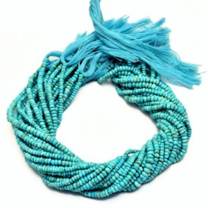 Shop Turquoise Rondelle Beads! AAA Turquoise 3mm-4mm Rondelle Faceted Beads | 13inch Strand | Natural Arizona Turquoise Semi Precious Gemstone Beads | Turquoise Rondelles | Natural genuine rondelle Turquoise beads for beading and jewelry making.  #jewelry #beads #beadedjewelry #diyjewelry #jewelrymaking #beadstore #beading #affiliate #ad