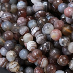 "Shop Agate Faceted Beads! Botswana Agate Beads Faceted 6mm Round Faceted 8mm Round Faceted 10mm Faceted 12mm Round Beads 16"" Strand 