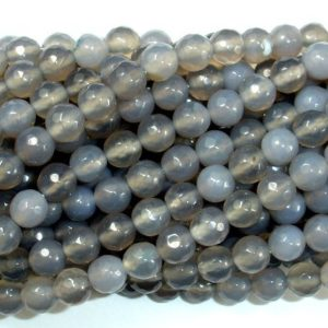Shop Agate Faceted Beads! Gray Agate Beads, 8mm Faceted Round Beads, 15.5 Inch, Full strand, Approx 48 beads, Hole 1 mm (241025003) | Natural genuine faceted Agate beads for beading and jewelry making.  #jewelry #beads #beadedjewelry #diyjewelry #jewelrymaking #beadstore #beading #affiliate #ad