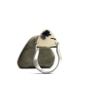 Modern Zen Montana Agate Silver Ring Black White Dome Shaped Natural Gemstone Slice Inspirational Statement Band Wide Shank – Cloud Temple | Natural genuine Agate rings, simple unique handcrafted gemstone rings. #rings #jewelry #shopping #gift #handmade #fashion #style #affiliate #ad