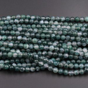 "Shop Agate Round Beads! AAA Natural Green Moss Agate Round Beads 4mm Round Beads 6mm Round Beads 8mm Round Beads Green Gemstone High Polish Spheres 16"" Strand 