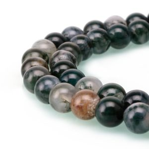 "Shop Moss Agate Beads! Green Moss Agate Smooth Round Beads 4mm 6mm 8mm 10mm Approx 15.5"" Strand 