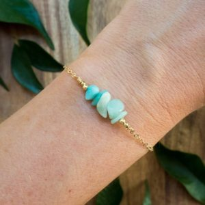 "Shop Amazonite Bracelets! Amazonite bead bar crystal bracelet in bronze, silver, gold or rose gold – 6"" chain with 2"" adjustable extender 
