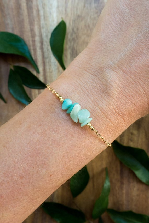 "Amazonite Bead Bar Crystal Bracelet In Bronze, Silver, Gold Or Rose Gold - 6"" Chain With 2"" Adjustable Extender"