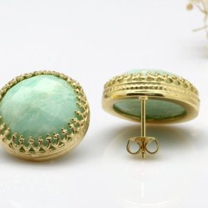 Shop Amazonite Earrings! Amazonite Earrings, gold Post Earrings, lace Crown Earrings, sky Blue Earrings, large Round Earrings, wedding Earrings | Natural genuine Amazonite earrings. Buy handcrafted artisan wedding jewelry.  Unique handmade bridal jewelry gift ideas. #jewelry #beadedearrings #gift #crystaljewelry #shopping #handmadejewelry #wedding #bridal #earrings #affiliate #ad