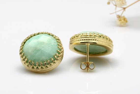 Amazonite Earrings, Gold Post Earrings, Lace Crown Earrings, Sky Blue Earrings, Large Round Earrings, Wedding Earrings